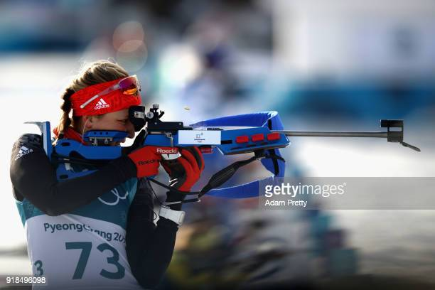 Franziska Preuss of Germany shoots prior to the Women's 15km Individual Biathlon at Alpensia Biathlon Centre on February 15 2018 in Pyeongchanggun...