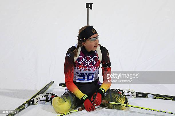 Franziska Preuss of Germany sits at the finish in the Women's 75 km Sprint during day two of the Sochi 2014 Winter Olympics at Laura Crosscountry Ski...