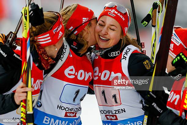 Franziska Preuss of Germany takes 1st place during the IBU Biathlon World Cup Men's and Women's Relay on December 13 2014 in Hochfilzen Austria