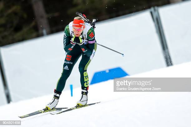 Franziska Preuss of Germany takes 1st place during the IBU Biathlon World Cup Women's Relay on January 13 2018 in Ruhpolding Germany