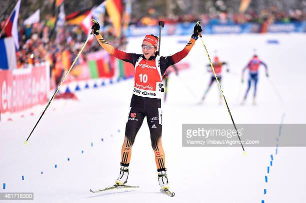 Franziska Preuss of Germany takes 2nd place during the IBU Biathlon World Cup Men's and Women's Mass Start on January 18 2015 in Ruhpolding Germany
