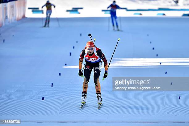 Franziska Preuss of Germany takes 2nd place during the IBU Biathlon World Championships Men's and Women's Mass Start on March 15 2015 in Kontiolahti...