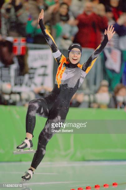 Franziska Schenk of Germany celebrates her third place bronze medal in the Women's 500m speed skating competition on 19th February 1994 during the...
