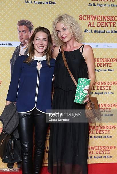Franziska Schlattner and Esther Maria Pietsch during the premiere of the film 'Schweinskopf al dente' at Mathaeser Filmpalast on August 2 2016 in...