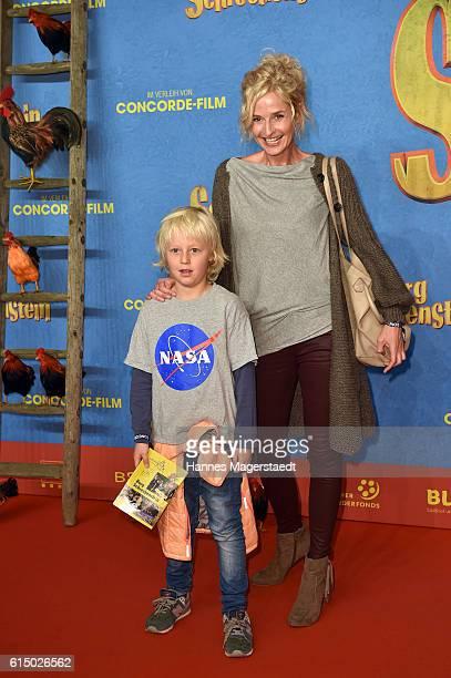 Franziska Schlattner and her son Jimmy attends the premiere of the film 'Burg Schreckenstein' at Mathaeser Filmpalast on October 16 2016 in Munich...