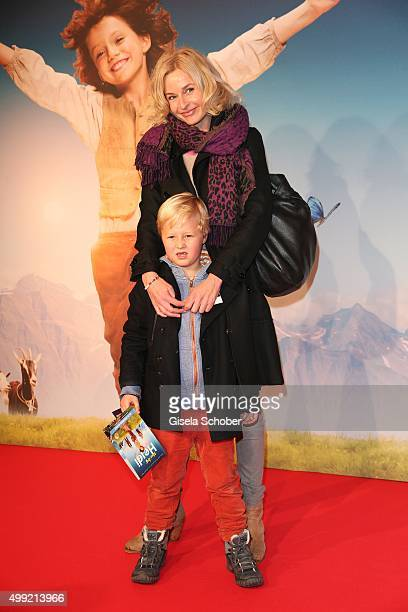 Franziska Schlattner and her son Jimmy during the German premiere of the film 'HEIDI' at Mathaeser Filmpalast on November 29 2015 in Munich Germany