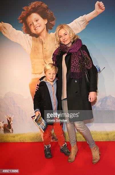 Franziska Schlattner and her son Jimmy Schlattner during the German premiere of the film 'HEIDI' at Mathaeser Filmpalast on November 29 2015 in...