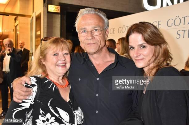Franziska Troegner, Klaus J. Behrendt and Susann Uplegger attend the Goetz George Award at Astor Film Lounge on August 19, 2019 in Berlin, Germany.