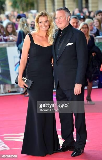Franziska van Almsick and her husband Juergen B Harder attend the Radio Regenbogen Award 2017 at Europapark on April 7 2017 in Rust Germany