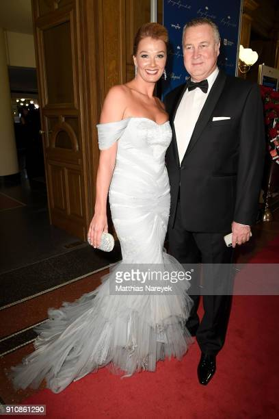 Franziska van Almsick and her husband Juergen B. Harder during the Semper Opera Ball 2018 at Semperoper on January 26, 2018 in Dresden, Germany.