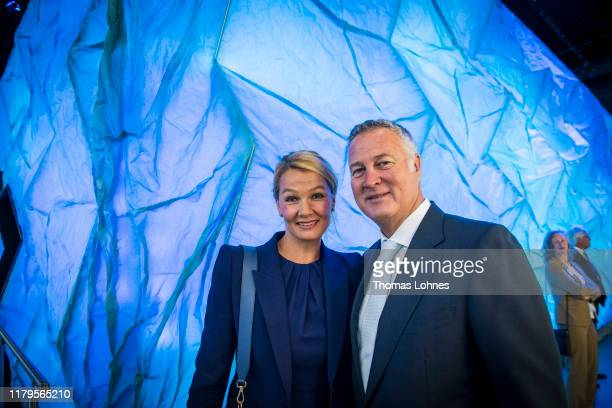 """Franziska van Almsick and her partner Juergen B. Harder attend the opening of the """"Klima Arena,"""" or Climate Arena, on October 7, 2019 in Sinsheim,..."""