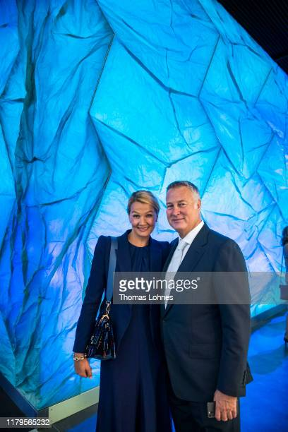 Franziska van Almsick and her partner Juergen B Harder attend the opening of the Klima Arena or Climate Arena on October 7 2019 in Sinsheim Germany...