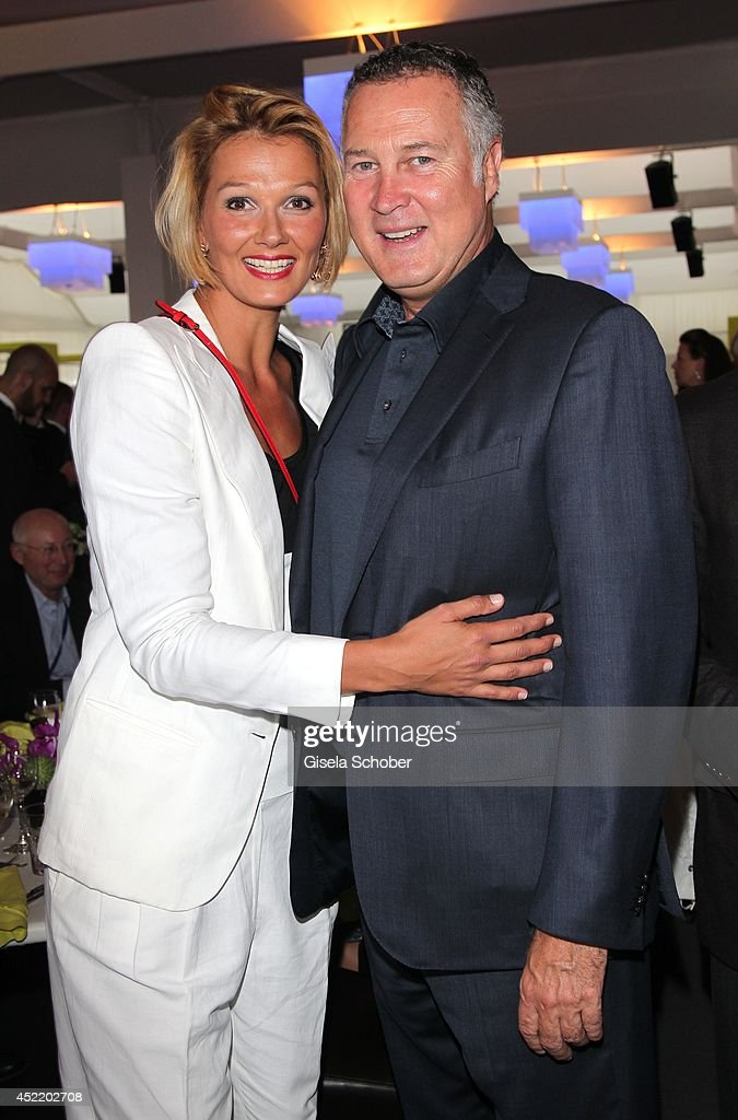 Franziska van Almsick and her partner Juergen B. Harder attend the CHIO 2014 media night on July 15, 2014 in Aachen, Germany.