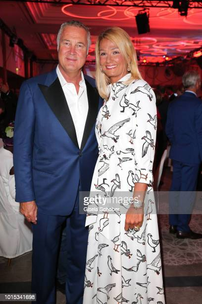 Franziska van Almsick and her partner Juergen B Harder during the 11th GRK Golf Charity Masters reception on August 11 2018 at The Westin Hotel in...