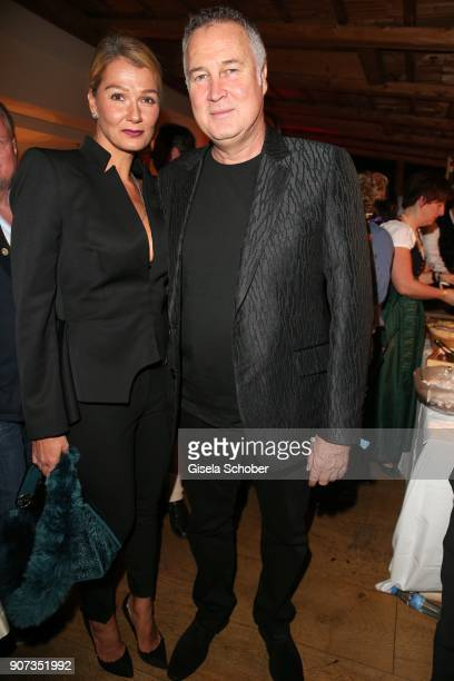 Franziska van Almsick and her partner Juergen B Harder during the 27th Weisswurstparty at Hotel Stanglwirt on January 19 2018 in Going near...