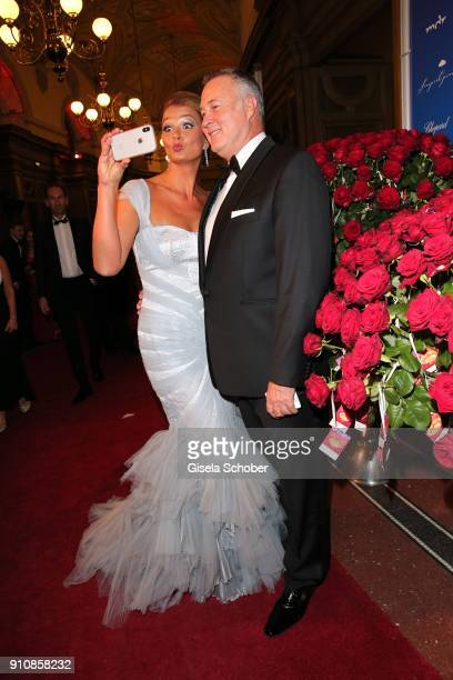 Franziska van Almsick and her partner Juergen B Harder take a selfie during the Semper Opera Ball 2018 at Semperoper on January 26 2018 in Dresden...