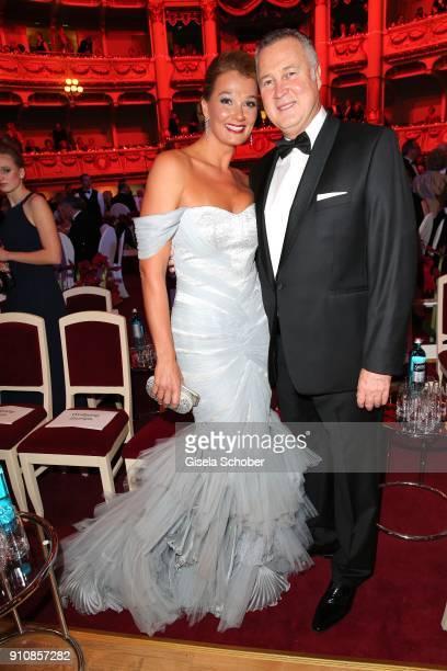 Franziska van Almsick and her partnerJuergen B. Harder during the Semper Opera Ball 2018 at Semperoper on January 26, 2018 in Dresden, Germany.