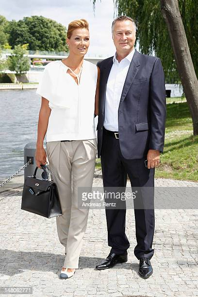 Franziska van Almsick and Juergen B. Harder arrive for a boat tour with the Monaco royal couple on the Spree canal on July 9, 2012 in Berlin,...