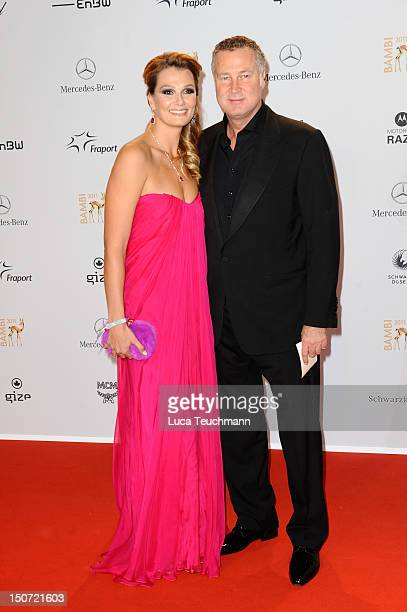 Franziska Van Almsick and Juergen B. Harder attend the Red Carpet for the Bambi Award 2011 ceremony at the Rhein-Main-Hallen on November 10, 2011 in...