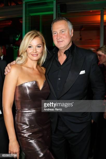 Franziska van Almsick and partner Juergen B Harder attend the German Sports Gala 'Ball des Sports 2017' on February 4 2017 in Wiesbaden Germany