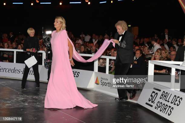 Franziska van Almsick and Thomas Gottschalk attend the Ball des Sports 2020 gala at RheinMain CongressCenter on February 01 2020 in Wiesbaden Germany