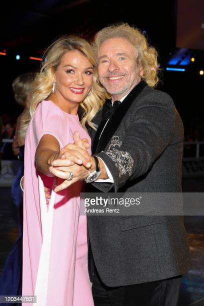 Franziska van Almsick and Thomas Gottschalk dance during the Ball des Sports 2020 gala at RheinMain CongressCenter on February 01 2020 in Wiesbaden...