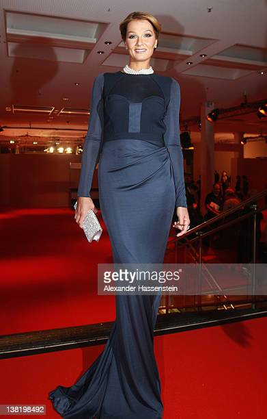 Franziska van Almsick arrives at the 2012 Sports Gala 'Ball des Sports' at the RheinMain Hall on February 4 2012 in Wiesbaden Germany