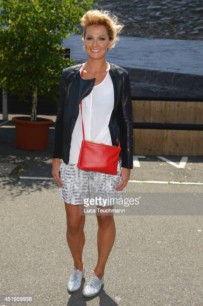 Franziska van Almsick attends the Roshi Porkar show during the MercedesBenz Fashion Week Spring/Summer 2015 at Erika Hess Eisstadion on July 10 2014...