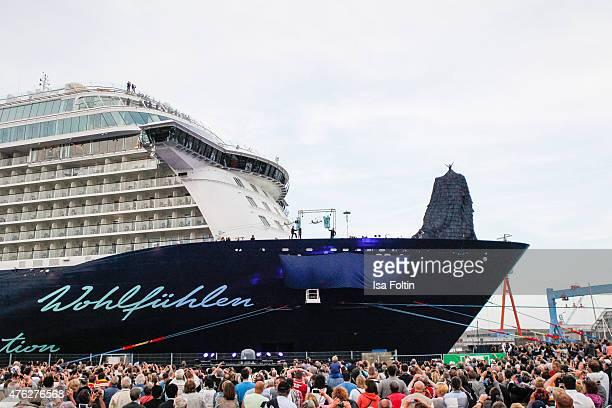 Franziska van Almsick during the naming ceremony of the cruise ship 'Mein Schiff 4' on June 5, 2015 in Kiel, Germany.