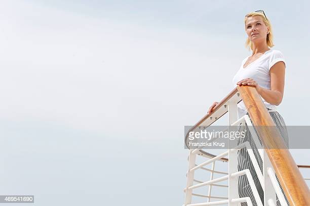 Franziska van Almsick in her role as godmother for the ship 'Mein Schiff 4' poses during a photo shooting on April 12 2015 in Palma de Mallorca Spain