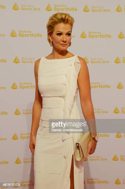 Franziska van Almsick poses on her arrival at the Ball des Sports 2014 at RheinMainHalle on February 8 2014 in Wiesbaden Germany