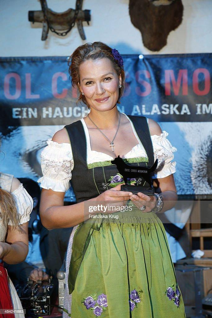 Franziska van Almsick receives an award at the Dorfstadl Evening - Tirol Cross Mountain 2013 on December 07, 2013 in Innsbruck, Austria.