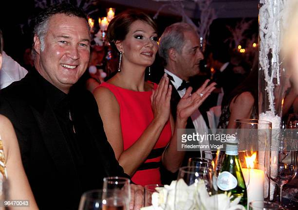 Franziska van Almsick sits sits with her man Juergen B. Harder at the 2009 Sports Gala 'Ball des Sports' at the Rhein-Main Hall on February 6, 2010...