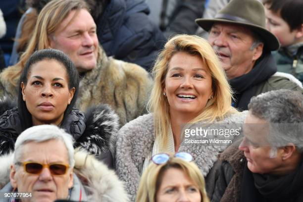 Franziska van Almsick smiles during the Hahnenkamm race on January 20 2018 in Kitzbuehel Austria