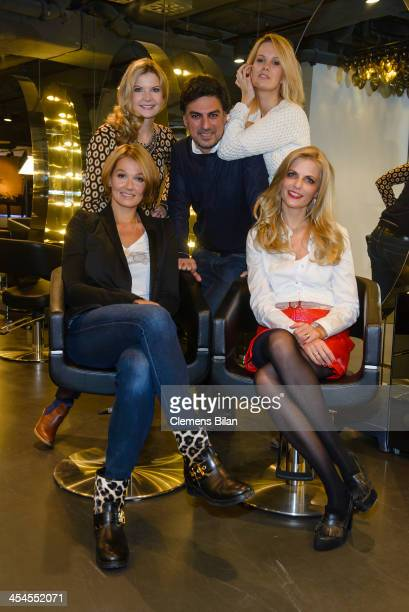 Franziska van Almsick , Tanja Buelter, Eva Imhof , Shan Rahimkhan and Monica Ivancan pose after a styling session at Salon Shan Rahimkhan on December...