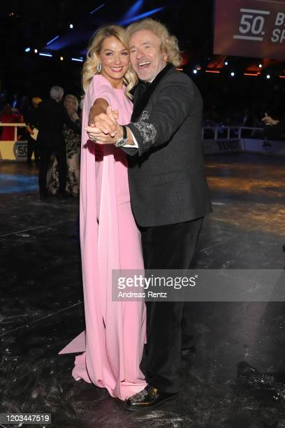 Franziska van Almsick with Thomas Gottschalk dance during the Ball des Sports 2020 gala at RheinMain CongressCenter on February 01 2020 in Wiesbaden...