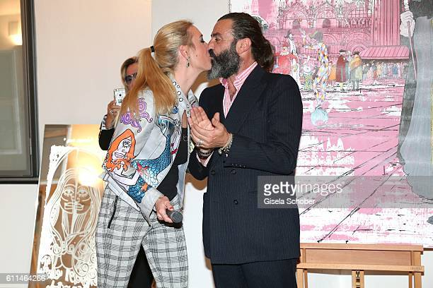 Franziska von FuggerBabenhausen and Artist Mauro Bergonzoli during the 'Bergonzoli in Bavaria' exhibition opening at Bayerisches Nationalmuseum on...