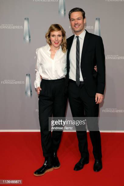 Franziska Weisz and Felix Herzogenrath attend the German Television Award at Rheinterrasse on January 31, 2019 in Duesseldorf, Germany.