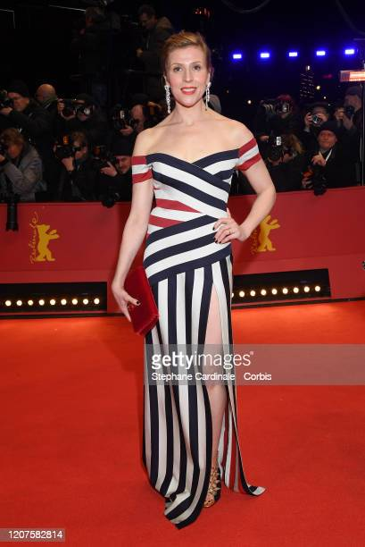 "Franziska Weisz arrives for the opening ceremony and ""My Salinger Year"" premiere during the 70th Berlinale International Film Festival Berlin at..."