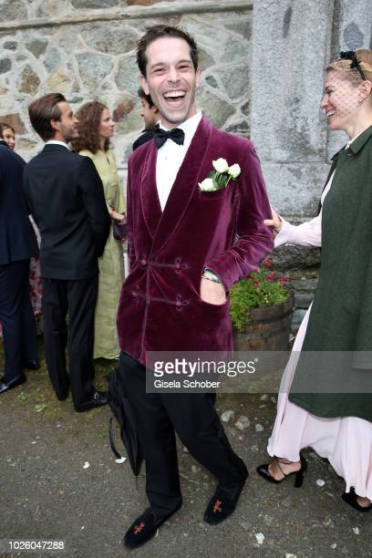 Franziskus von Boch and Annina von Pfuel during the wedding of Prince Konstantin of Bavaria and Deniz Kaya at the french church 'Eglise au Bois' on...