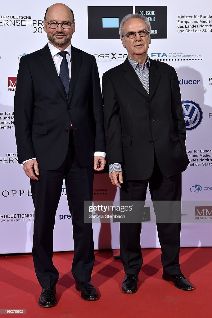 Franz-Josef Lersch-Mense and Gerhard Schmidt attend the German television award by the Deutsche Akademie fuer Fernsehen at Museum Ludwig on November 28, 2015 in Cologne, Germany.