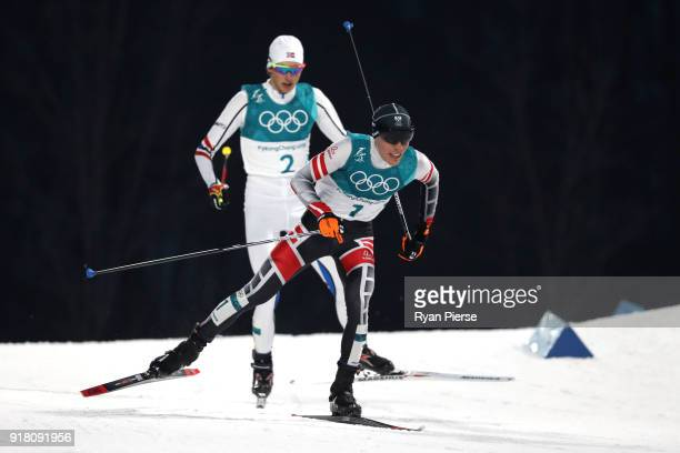 FranzJosef Rehrl of Austria and Jarl Magnus Riiber of Norway compete during the Nordic Combined Individual Gundersen Normal Hill and 10km Cross...