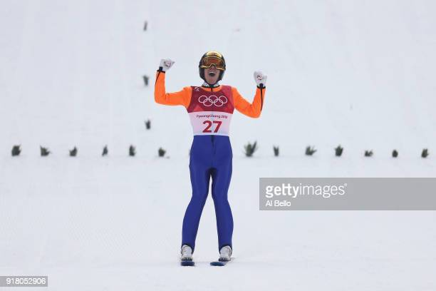 Franz-Josef Rehrl of Austria reacts as he lands a jump during the Nordic Combined Individual Gundersen Normal Hill and 10km Cross Country on day five...