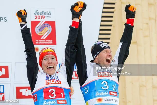 Franz-josef Rehrl of Austria takes 3rd place, Bernhard Gruber of Austria takes 3rd place during the FIS Nordic World Ski Championships Men's Nordic...