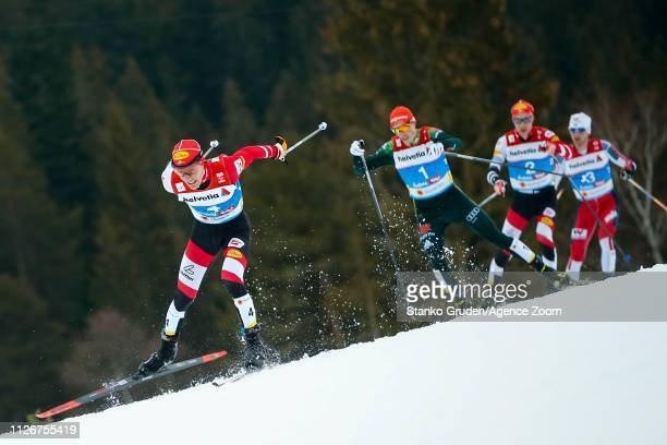 Franz-josef Rehrl of Austria takes 3rd place during the FIS Nordic World Ski Championships Men's Nordic Combined Team HS130 on February 24, 2019 in...