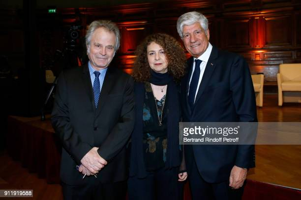 FranzOlivier Giesbert his wife Valerie Toranian and Maurice Levy attend the Tribute to ELie Wiesel by Maurice Levy X Publicis Group at La Sorbonne on...