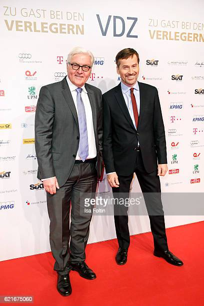 FranzWalter Steinmeier and Stephan Scherzer during the VDZ Publishers' Night 2016 at Deutsce Telekom's representative office on November 7 2016 in...
