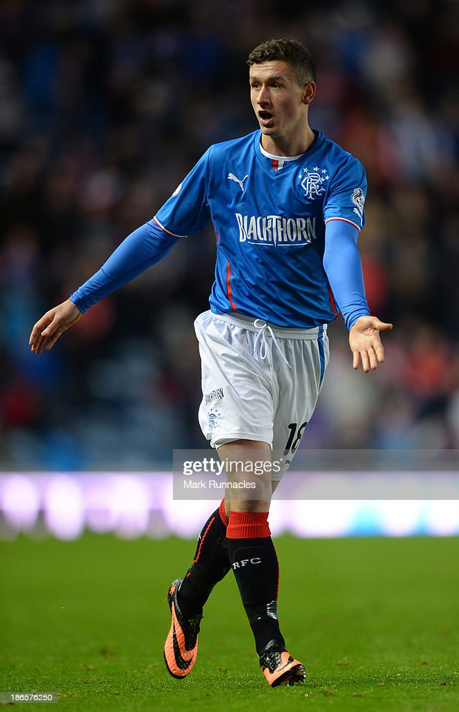 Fraser Aird of Rangers reacts during the The William Hill Scottish Cup Third Round match between Rangers and Airdrieonians at Ibrox Stadium on November 1, 2013 in Glasgow, Scotland.