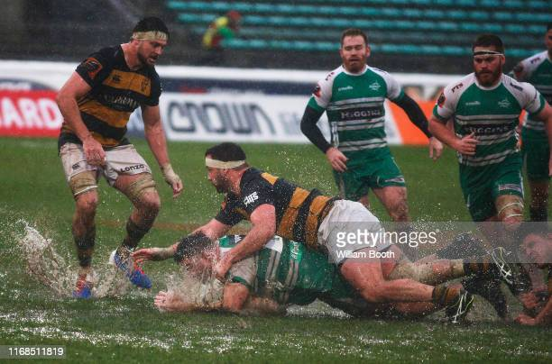 Fraser Armstrong of Manawatu is tackled by Chris Gawler during the round 2 Mitre 10 Cup match between Manawatu and Taranaki at Central Energy Trust...