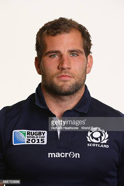 Fraser Brown of Scotland during the Scotland Rugby World Cup 2015 squad photo call at the Hilton Puckrup Hall Hotel on September 17 2015 in...